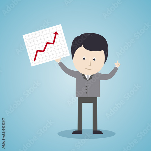 Geschäftsmann, Kurvendiagramm, Börsenkurs - Illustration