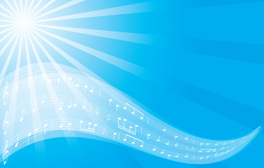 music vector background - blue flyer