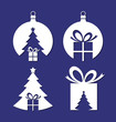 Negative space Christmas icons