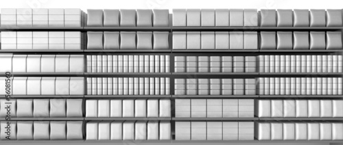Supermarket Shelves With Generic Products Front - 56081560