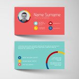 Modern red and teal flat business card template