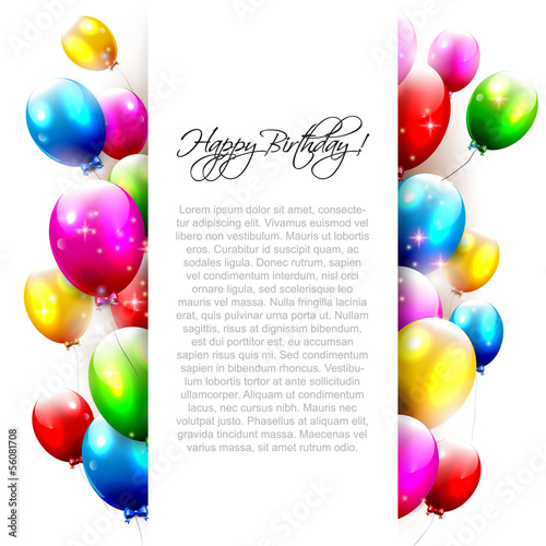Birthday balloons on whitebackground with place for text