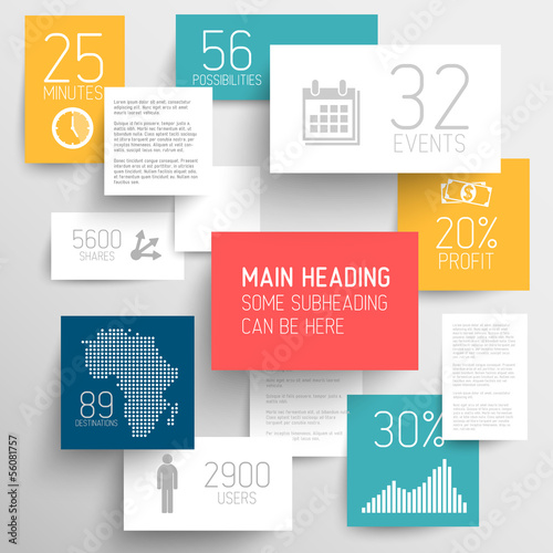 Vector abstract rectangles  infographic template