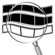 Filmstrip convex to sphere by magnify glass