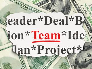 Finance concept: Team on Money background