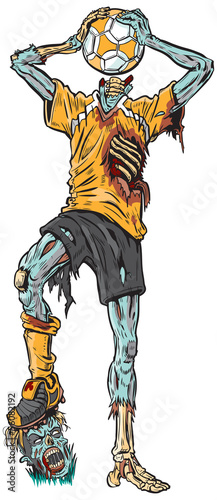 Zombie Soccer Player Vector Cartoon