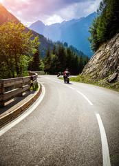 Bikers on mountainous race