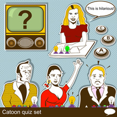 Cartoon quiz illustration set