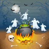 illustration of ghost from cauldron in Halloween Background