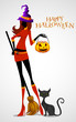 vector illustration of Halloween witch with pumpkin