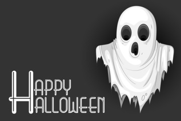 vector illustration of cute monster wishing Happy Halloween