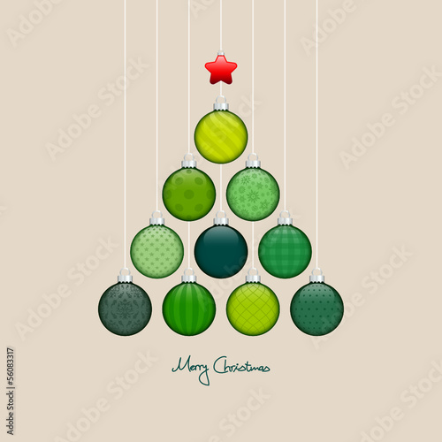 Christmas Tree Hanging Balls Pattern Green/Silver Beige