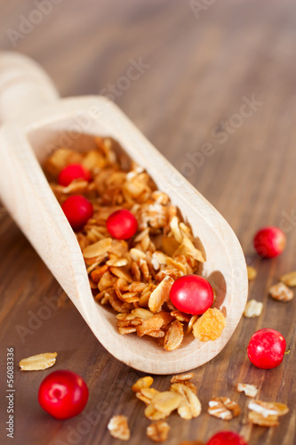 Granola with red berries in scoop