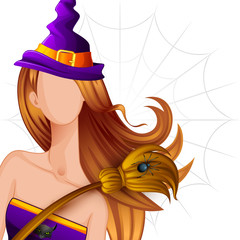 vector illustration of Halloween Witch with Broomstick