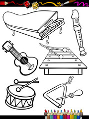 cartoon music instruments coloring page