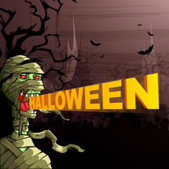 vector illustration of scary mummy wishing Happy Halloween