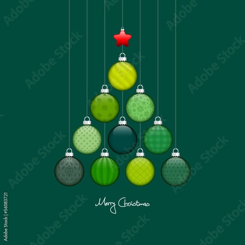 Christmas Tree Hanging Balls Pattern Green/Silver Dark Green