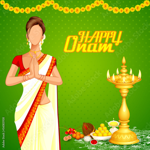 vector illustration of lady wishing happy Onam