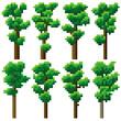 Set of pixel high tree.