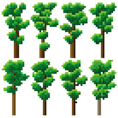 Set of pixel high tree.