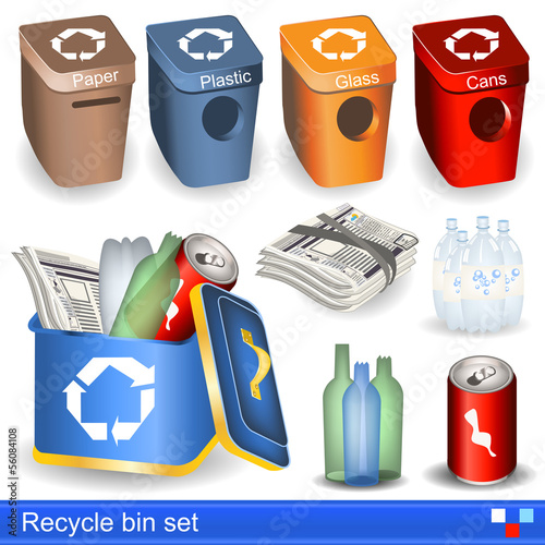 recycle bin icons set