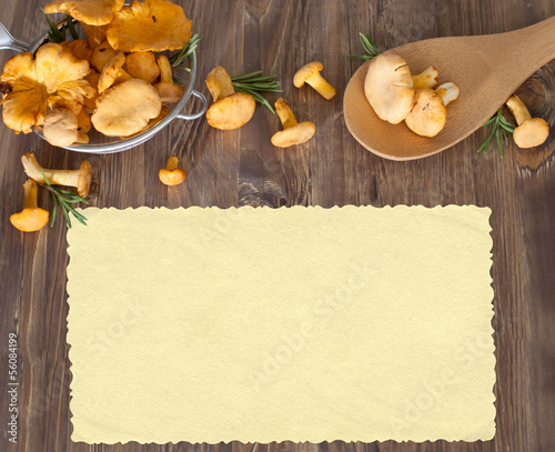 Chanterelles in sieve on wooden background. Space for your text