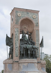 Famous Statue in Taxim Square, Istanbul honouring Turkish Heroes Mustafa Ataturk and Ismet Inonu