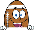 American Football Ball Cartoon Mascot Character Over Blank Sign