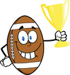 American Football Ball Character Holding Golden Trophy Cup