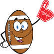 American Football Ball Cartoon Mascot Character With Foam Finger