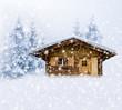 Verschneite Schihütte