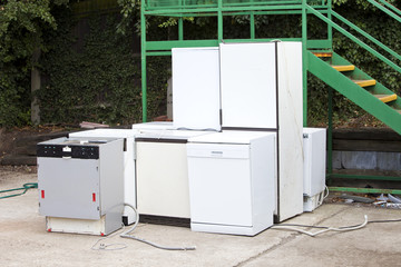 Discarded Dishwashers at local recycling center