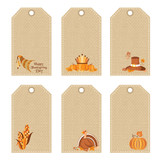 Set of thanksgiving day price tags