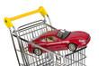 rotes Auto im Einkaufswagen