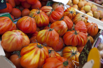 Close-up of tomatoes on display in store