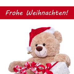 Frohe Weihnachten - Weihnachtskarte in Rot und Weiß