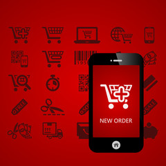 Shopping mobile phone applications vector illustration