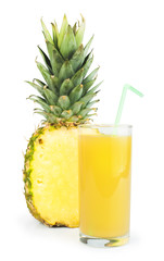 Pineapple and glass of juice