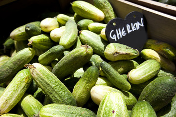 Close up of gherkins
