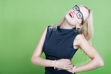Sexy blonde woman wearing eye wear