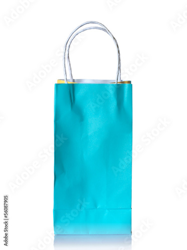 paper bag on reflect floor and white background