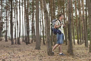 Full length of male backpacker trekking in forest
