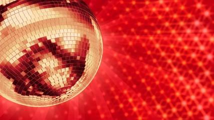 Disco Spiegelkugel, drehend, rot