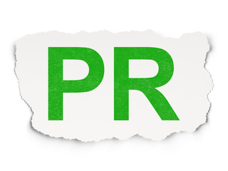 Marketing concept: PR on Paper background