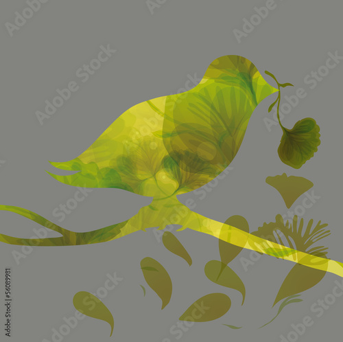 Silhouette of colorful bird with flower / Romantic floral card