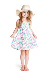 smiling little blonde girl wearing big white hat and dress
