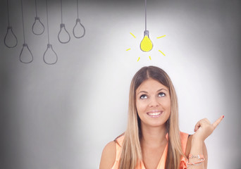 young woman and business concept-new idea