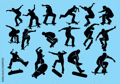 Skateboard on a blue background. Silhouette of extreme sports