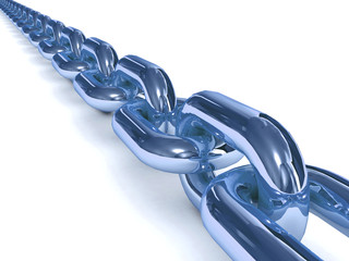 Blue chain over white background. 3D Concept illustration.