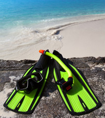 Accessory for Snorkeling -mask, flippers,  tube-lay on sand